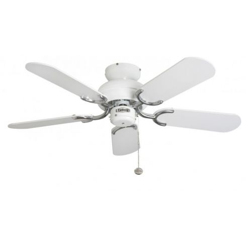 Capri 36inch Ceiling Fan without Light White & Stainless Steel