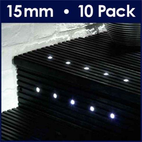 10 15mm White LED Decking Lights