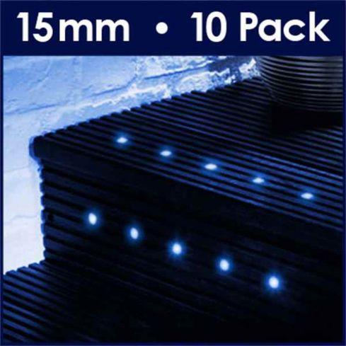 10 15mm Blue LED Decking Lights