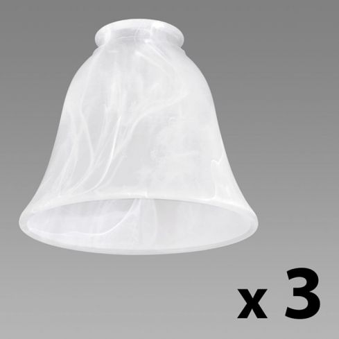 3 Marble Effect Glass Shades Tapered Bell Shape