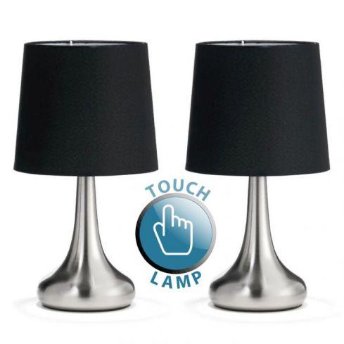2 Teardrop Touch Lamp Chrome Black Shade