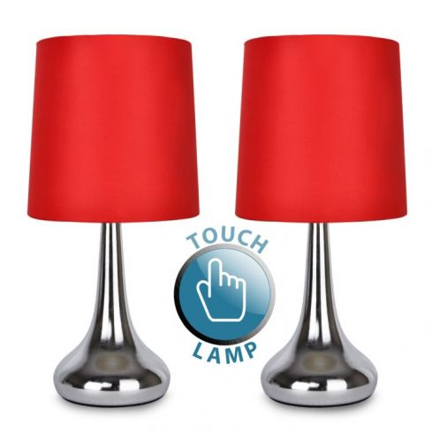 2 Teardrop Touch Lamp Chrome Red Shade