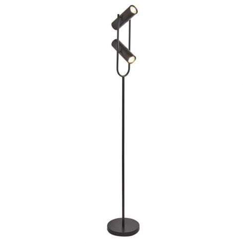 2 Light Cylinder Shade Floor Lamp Black