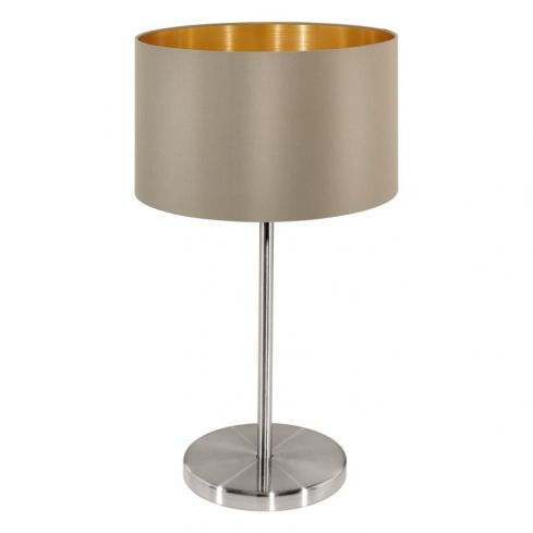MASERLO Table Lamp with Taupe Shade Satin Nickel