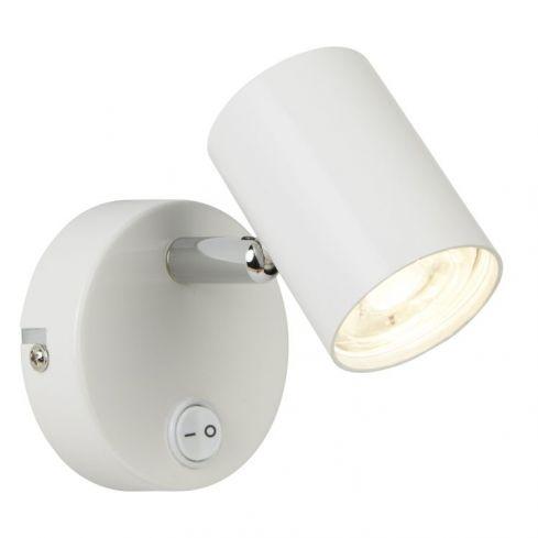 1 Light Cylinder Wall Bracket White Chrome