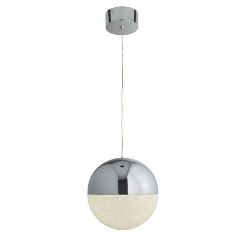 1 Light LED Globe Pendant Ice Shade Chrome