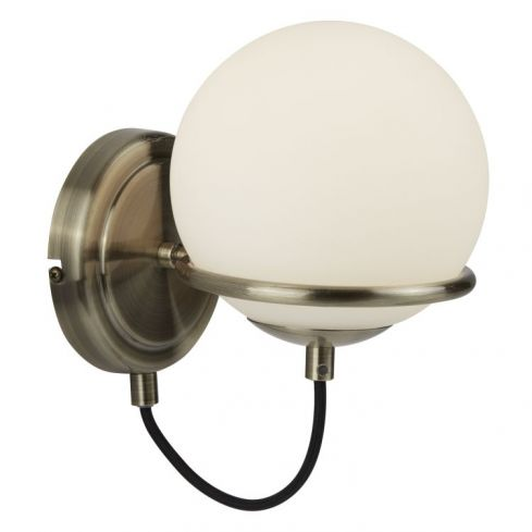 1 Light Wall Bracket Black Cable White Glass Shade