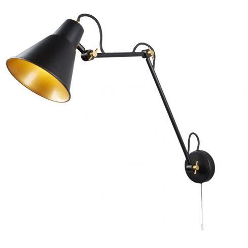1 Light Adjustable Wall Bracket Black Gold