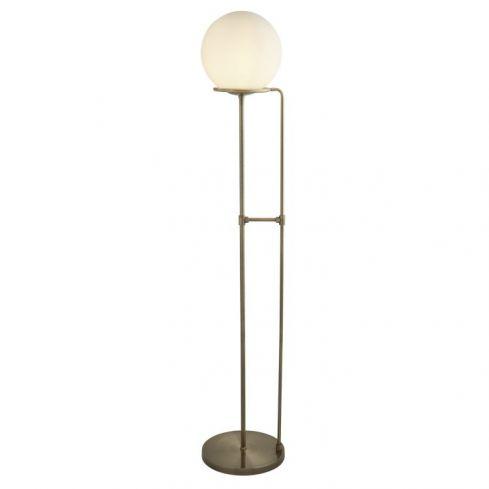 1 Light Floor Lamp Brass Opal White Glass Shade