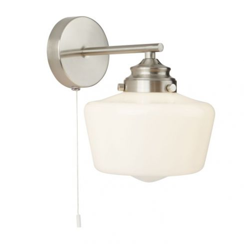 1Lt School House Wall Light , Satin Silver With Opal Glass