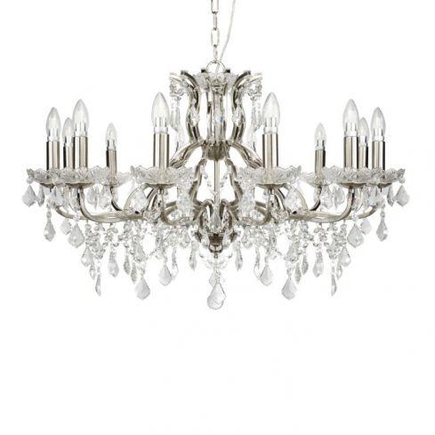 12 Light Chandelier Crystal Drops Silver
