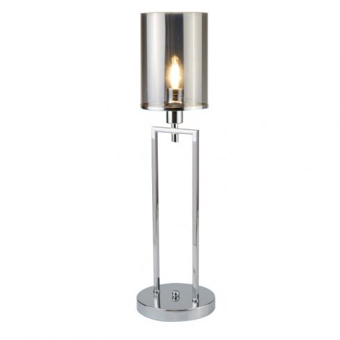 1 Light Table Lamp Chrome Glass Shades
