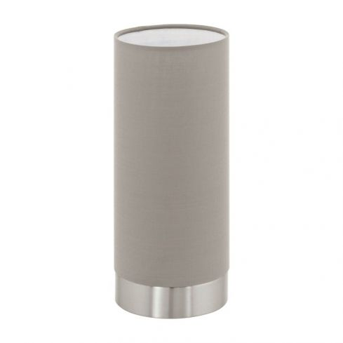 MASERLO Touch Table Lamp with Taupe Shade Satin Nickel