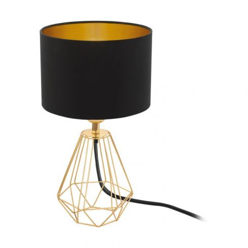 CARLTON 2 Table Lamp with Black Shade Brass