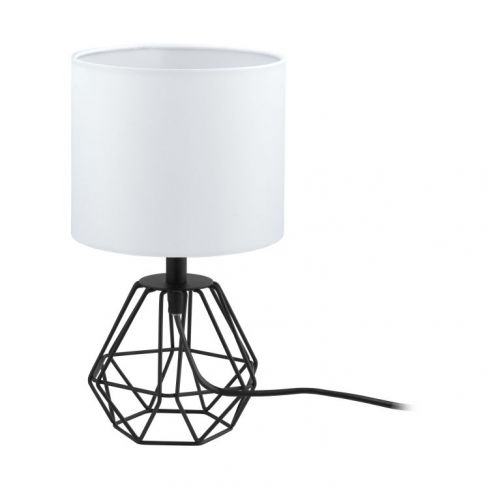CARLTON 2 Table Lamp with White Shade Black