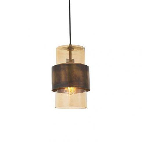 Arun Pendant Ceiling Light Brass Patina & Champagne Lustre Glass