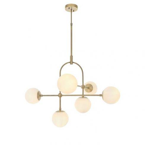 Amur 6Lt Semi-flush Ceiling Light Matt Antique Brass Plate & Opal Glass