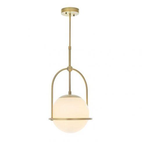 Amur Pendant Ceiling Light Matt Antique Brass Plate & Opal Glass