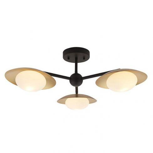 Aire 3Lt Semi-flush Ceiling Light Gold & Dark Bronze Finish With Opal Glass