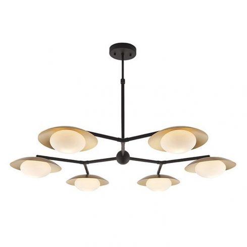 Aire 6Lt Semi-flush Ceiling Light Gold & Dark Bronze Finish With Opal Glass