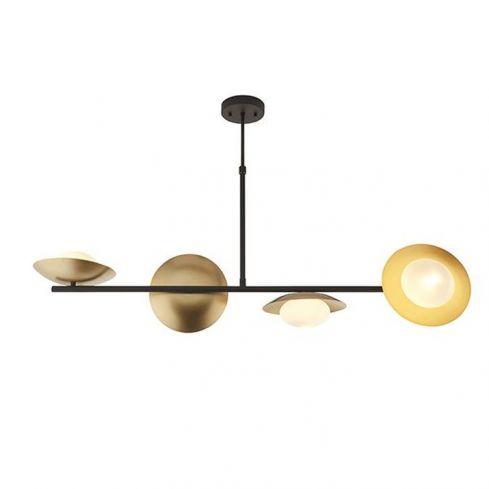 Aire 4Lt Pendant Bar Ceiling Light Gold & Dark Bronze Finish With Opal Glass