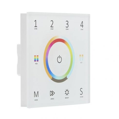 Mains Wall Mounted Touch Panel 240v Glass White