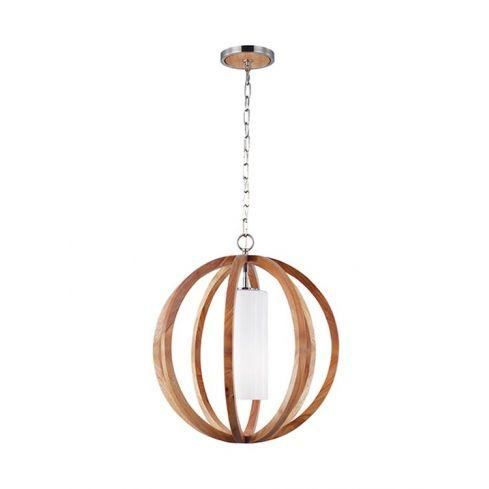 Allier 1-Light Small Pendant Ceiling Light Light Wood/Brushed Steel