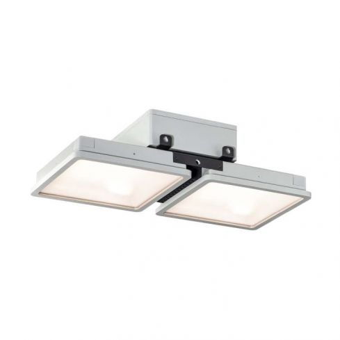ALMINO PD, double, LED outdoor surface-mounted ceiling light, UGR<19 grey IP65 4000K