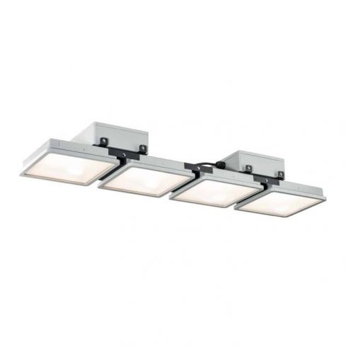 ALMINO PD, quad, LED outdoor surface-mounted ceiling light, UGR<19, grey IP65 4000K